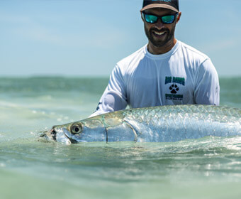 An image of an angler with a Tarpon in the Florida Keys