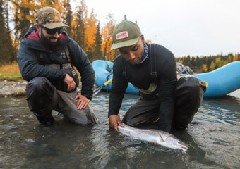 An image of anglers on an Alaska fly Fishing trip with  gorgeous trout.