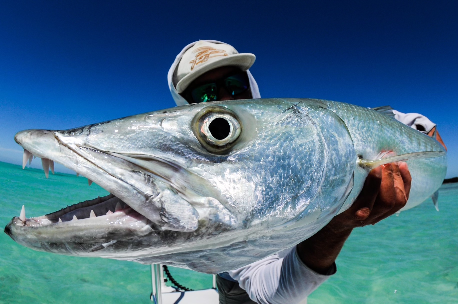 An image of a Florida Keys fishing guest with a barracuda caught on board an Outgoing Angling charter.
