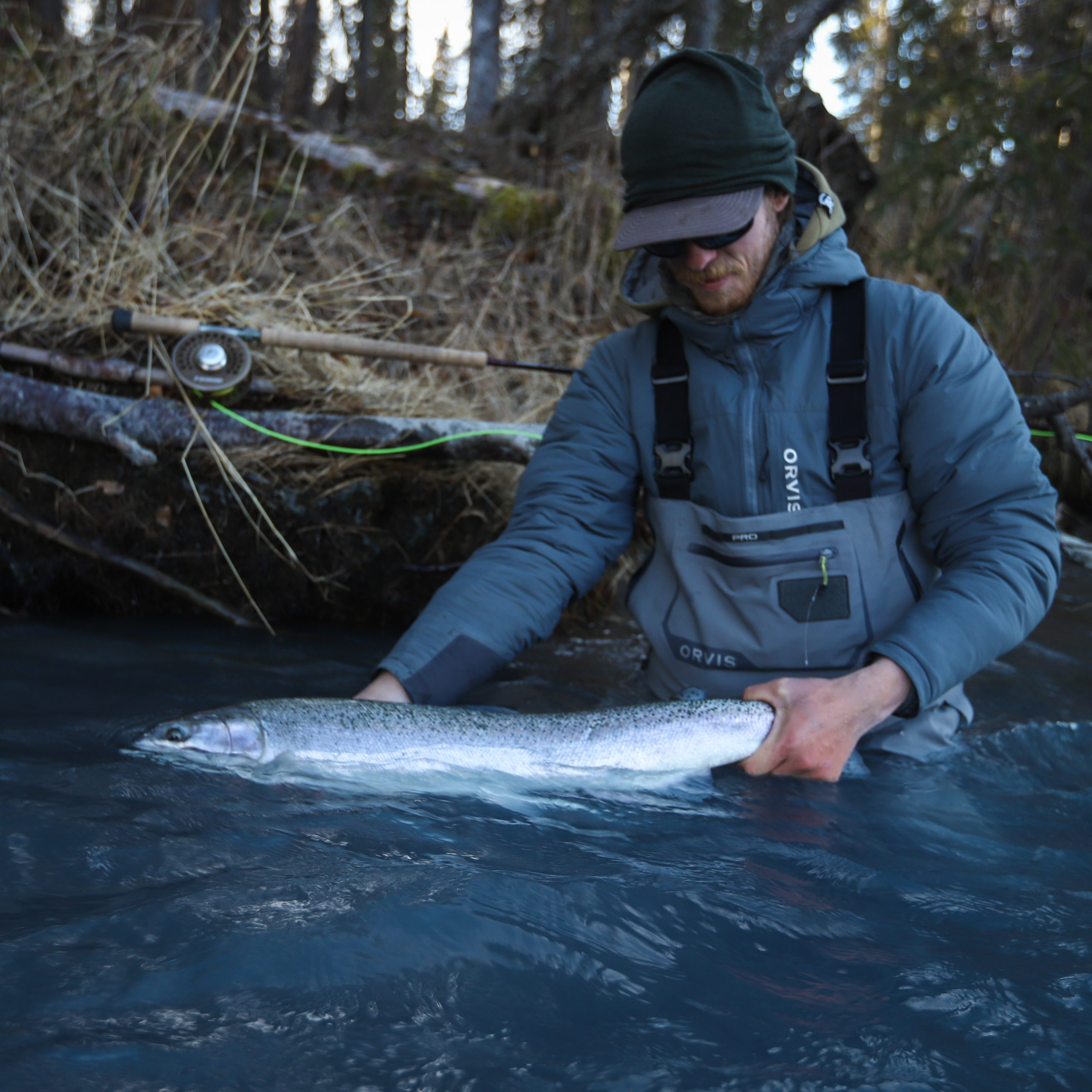 An image of an Alaska fishing guide in the wilderness of Alaska on a Alaska Fly Fishing Trips.